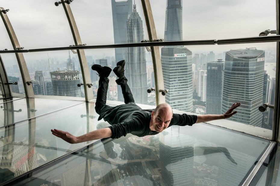 Flying on the skywalk in the Oriental Pearl Tower, Shanghai.