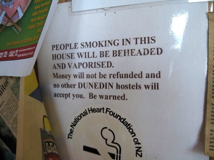 funny hostel no smoking sign