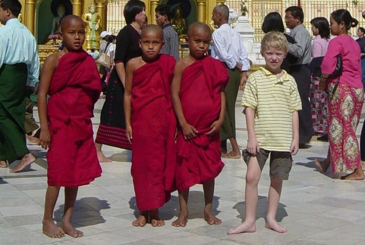 child with monks