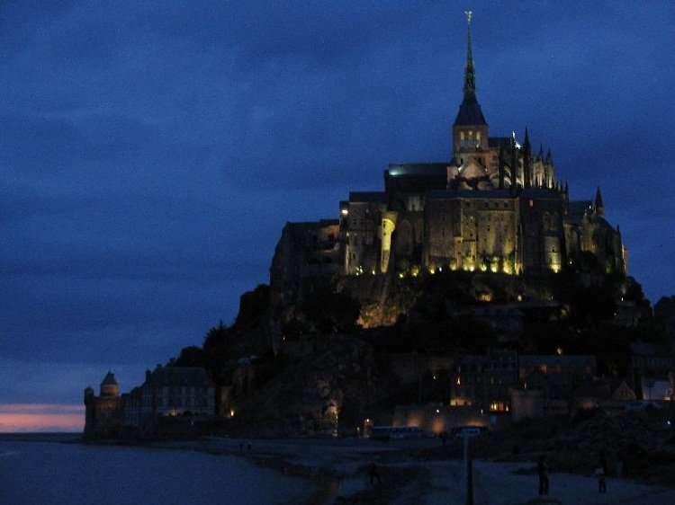 Evening view of Mont St. Michel, France