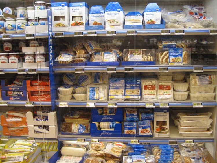 cold seafood section supermarket in norway