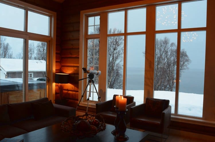 lyngen lodge living room with view