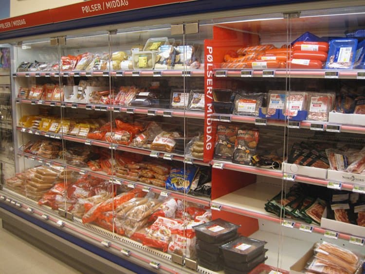 sausage section norwegian supermarket