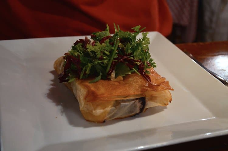 Blood sausage with apples in a crispy puff pastry at Le Bouchon des Filles