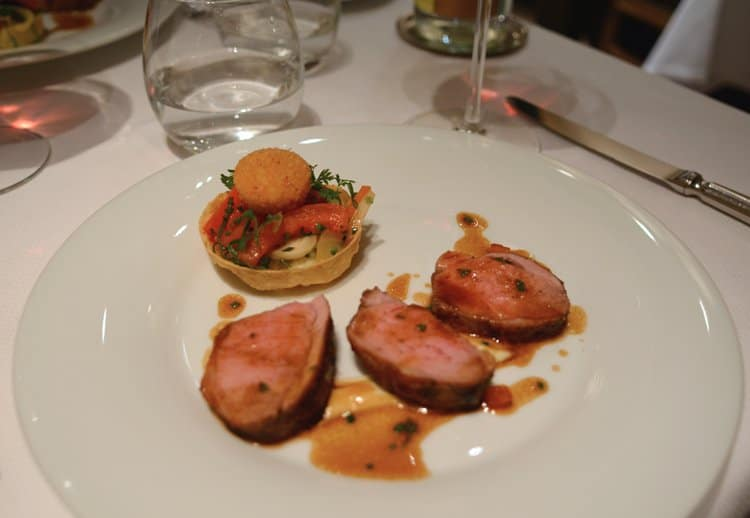 Tender delicious roasted lamb with a cauliflower tart at Le Gourmet de Seze