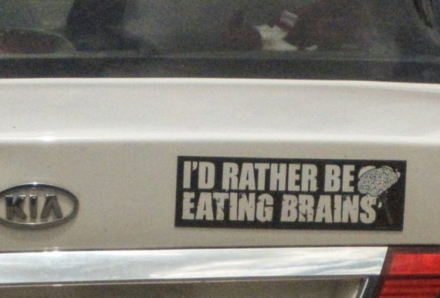 i'd rather be eating brains sticker