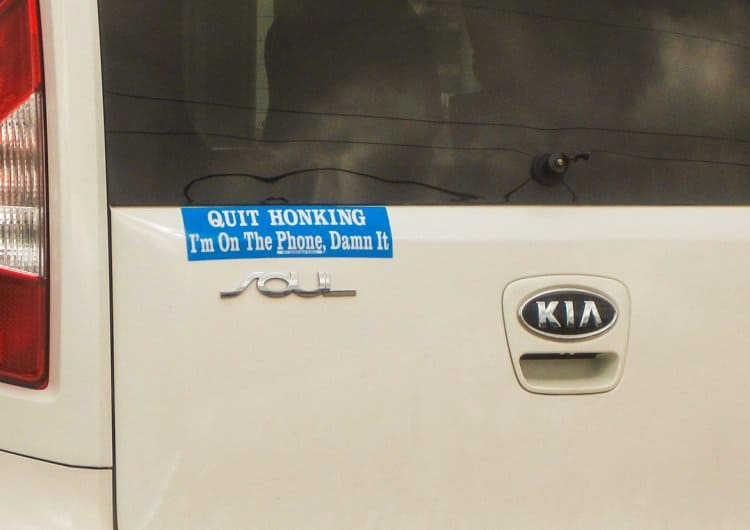 on the phone bumper sticker
