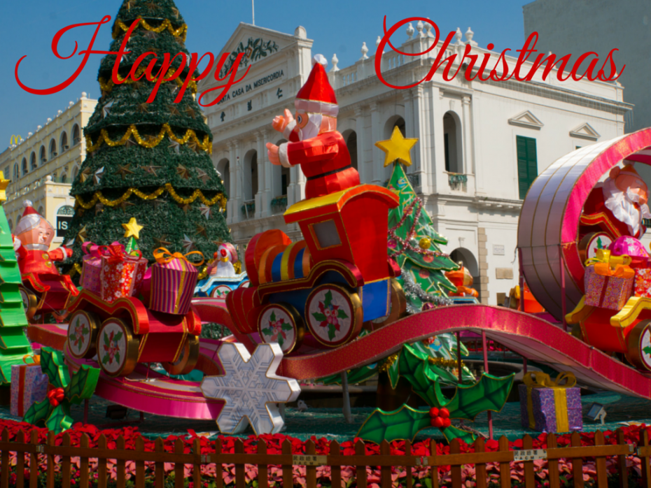Christmas carousel in front of the Holy House of Mercy of Macau