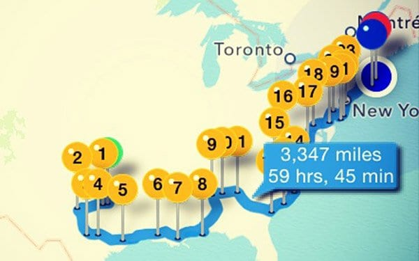Use InRoute App to track your roadtrip and favourite stops