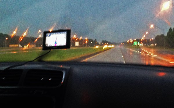A storm stopes just quickly enough for us to see the windscreen in Alabama