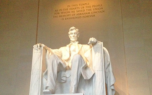 The presence of Abraham Lincoln is palpable in his sombre monument at Washington DC